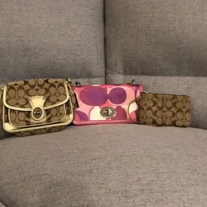 Bulk coach wristlet and two small bags.